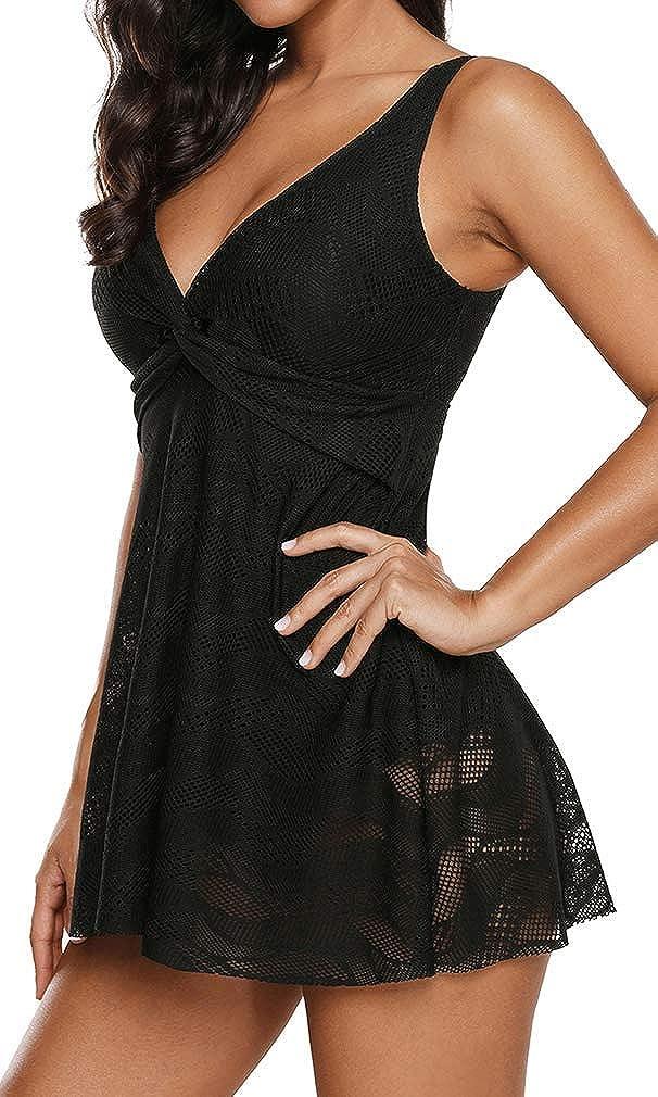 SilverBasic Femme Tankini Robe avec Jupette Creux Maillot de Bian 1 Pi/èce L/âche Push-up El/égant Amincissant Bikini Grande Taille