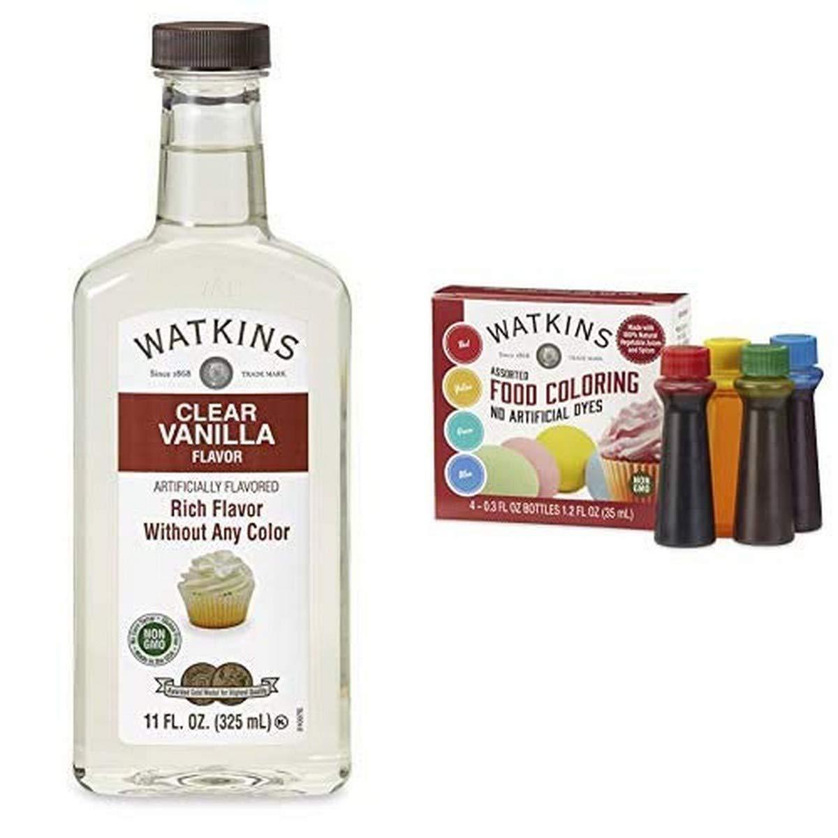 Watkins Clear Vanilla Extract & 4-Color Food Coloring Bundle
