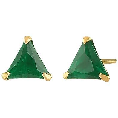 c0b9c397c Amazon.com: Efulgenz Jewelry 14K Gold Plated Hypoallergenic Green Tringle  Cubic Zirconia 6 MM Stud Earrings Set for Pierced Ears: Jewelry