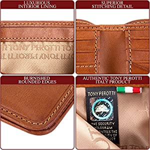 Tony Perotti Italian Leather Bifold Wallet with ID Window Classic Design Multi Credit Card Pocket Slots Double Bill Currency Divider Gusset, Honey