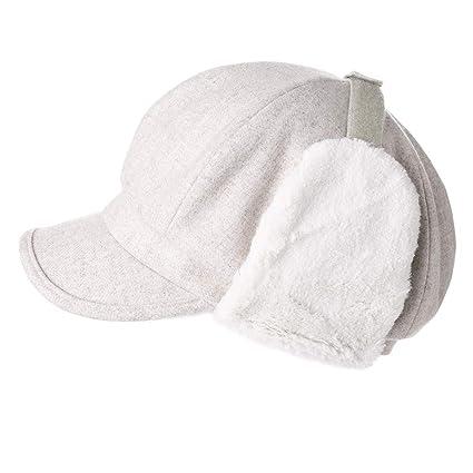 cd3822f805ce6 Womens Woolen Visor Beret Earflap Elmer Fudd Newsboy Cap Winter Panel Hat  Ladies Beige