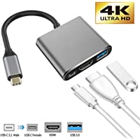 USB C to HDMI Adapter, IGUGIG 3 in 1 4K Type C to HDMI Multiport Converter with USB 3.0 Port and USB C Fast Charging Port Compatible with MacBook Pro/Chromebook Pixel/Projector/Monitor (Black)