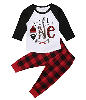 c96136d16 Toddler Kids Baby Boy Girl Outfits Wild One Cute Long Sleeve T-Shirt Tops  Plaid