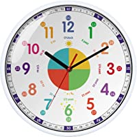 Time Teacher Wall Clock Learn to Tell The Time Wall Clock Colorfull Non Ticking for Kids,Girls,Boys Classroom,Bedroom…