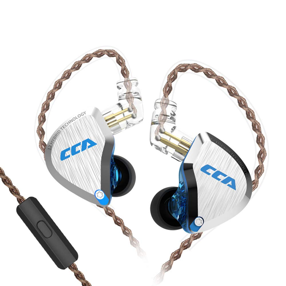 CCA C12 Earbuds IEM 5 Balanced Armature and 1 Dynamic Hybrid Drivers Earphone Bass Stereo Headphone with Detachable 0.75mm 2 Pin Cable (with mic, Blue)