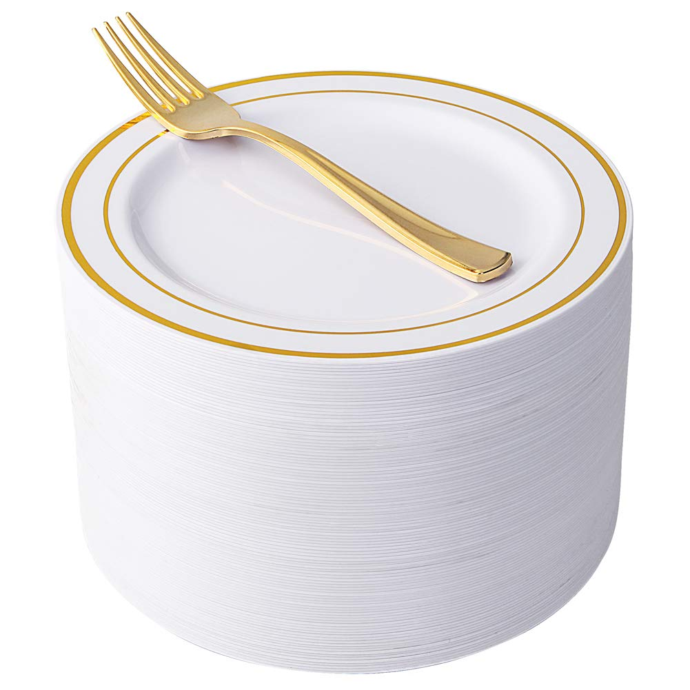NERVURE 102 Heavyweight Plastic Disposable 7.5'' Small Plates & 102 Silver Plastic Forks, Perfect for Salads, Desserts, Parties, Catering, Wedding Cakes (gold)