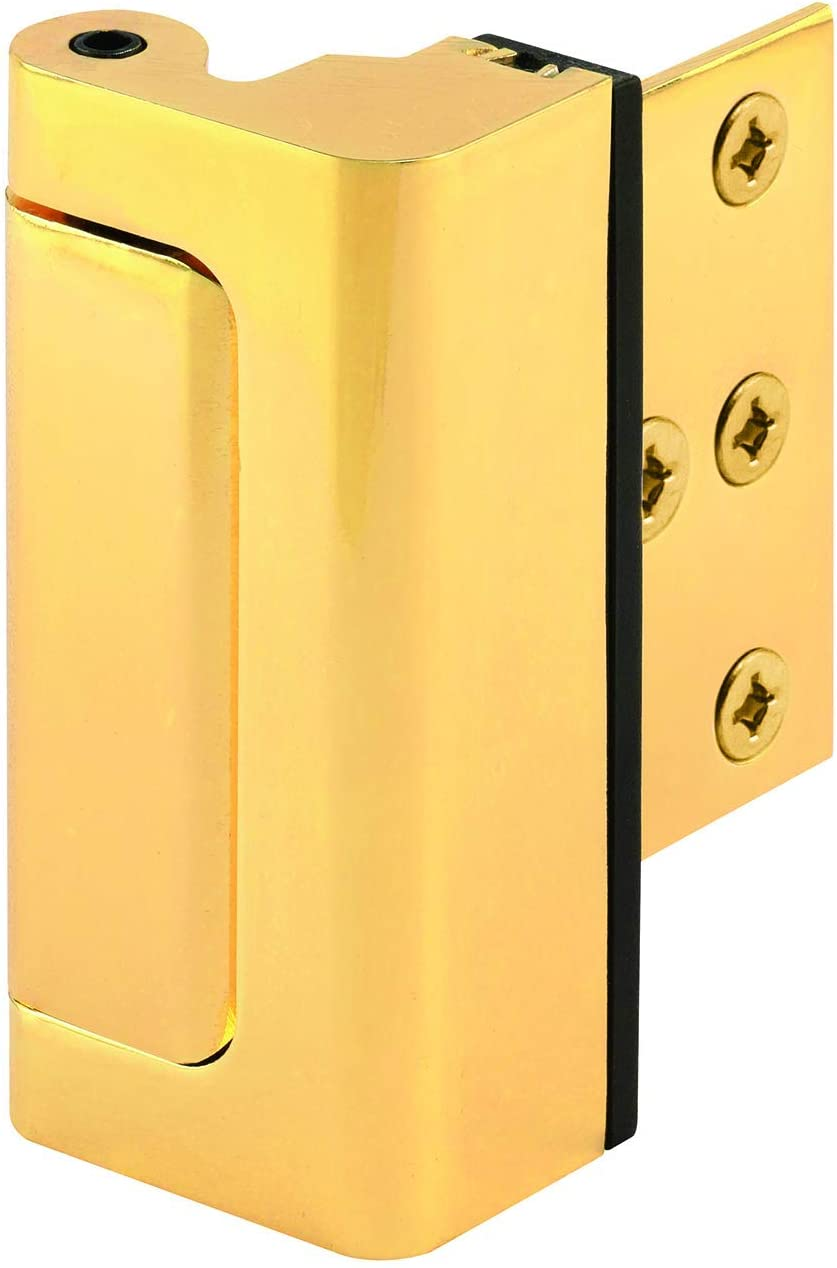 "Defender Security U 11442 Door Reinforcement Lock – Add Extra, High Security to Your Home and Prevent Unauthorized Entry – 3"" Stop, Aluminum Construction (Brass Finish)"