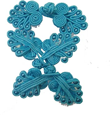 Lyracces 10pair Turquoise Sea Blue Handmade Sewing Fasteners Chinese Closure Knot Cheongsam Frog Buttons