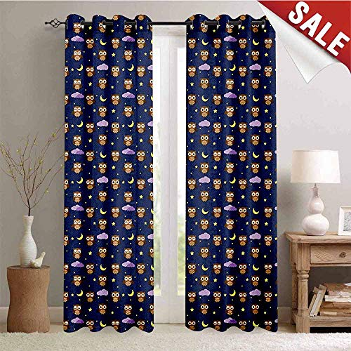 Hengshu Owls Window Curtain Drape Cartoon Birds at Night Sky Elements Stars and Crescent Moons Purple Clouds Bedtime Customized Curtains W84 x L96 Inch Multicolor