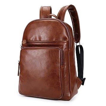 Diseñador de los Hombres Mochila de Gran Capacidad de Cuero Mochila Escolar de los Hombres Bolso de Viaje marrón Negro Bolsa de Viaje Black: Amazon.es: ...