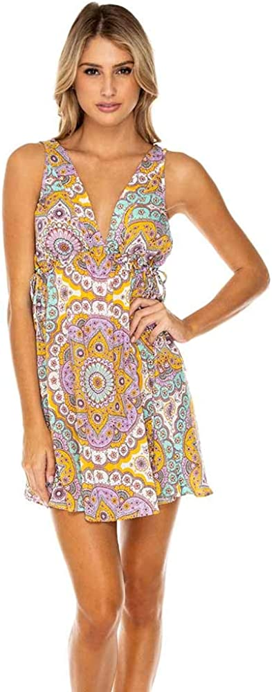 Luli Fama Womens Alhambra Crystallized V-Neck Tank Dress Swim Cover Up