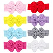 Baby Headbands Turban Knotted, Girl's Hairbands for Newborn,Toddler and Childrens (8pcs and bows)