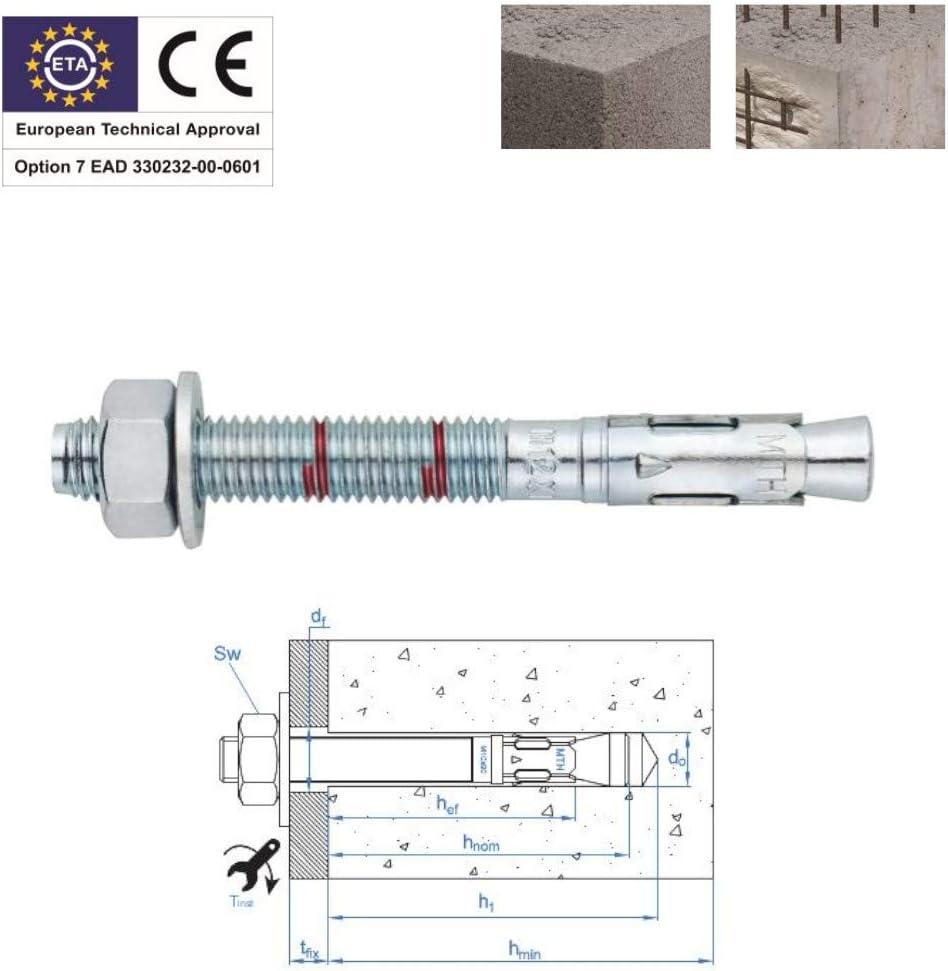 Goujons dancrage 8x90 mm acier zingu/é option 7 par 20