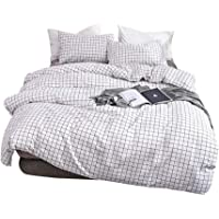 Feelyou Modern Black and White Plaid Checkered Pattern Bedding Set Grid Duvet Cover Set Modern Style Comforter Cover Set…