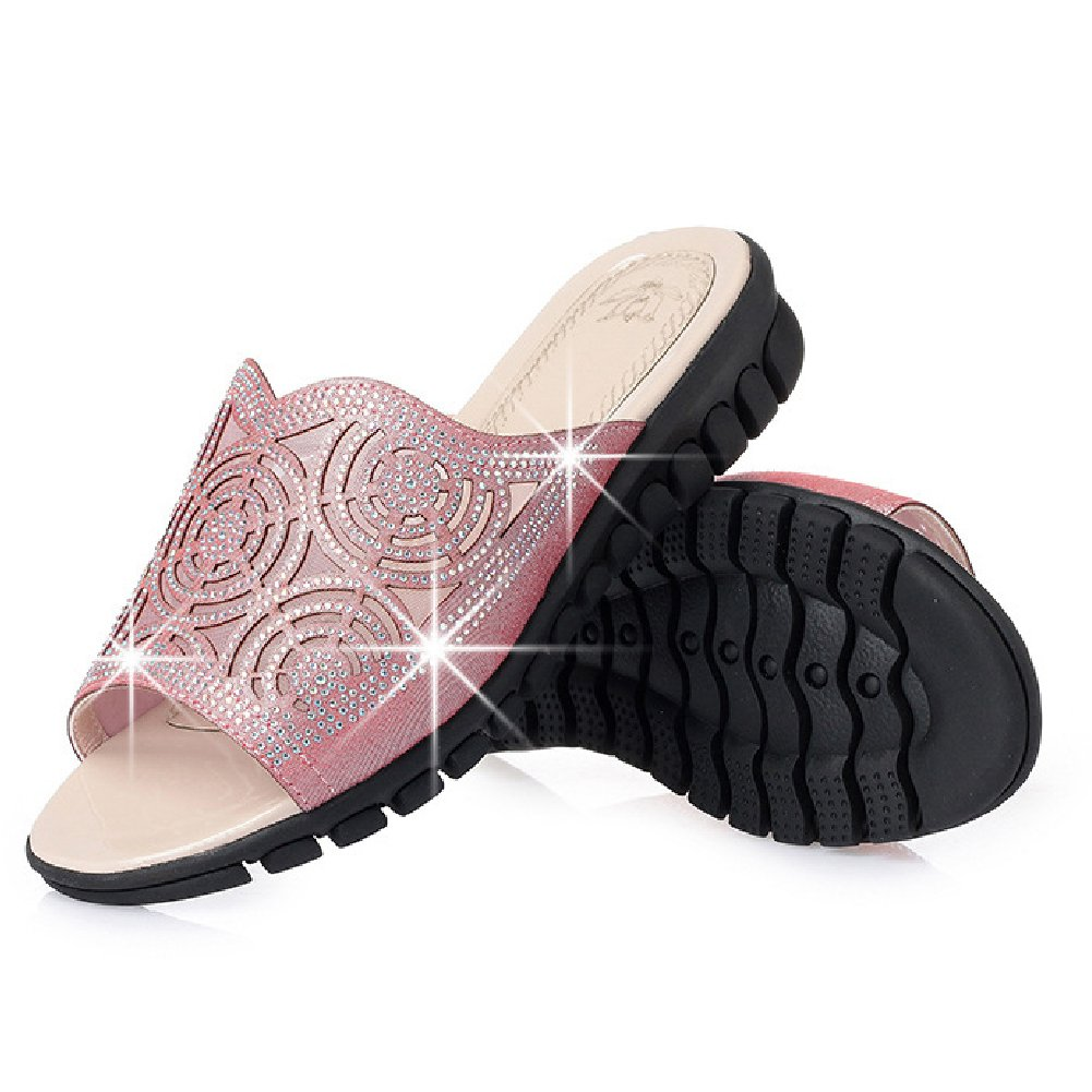 Btrada Women's Wedge Sandals Open-Toe Flats Slides Casual Platform B07C3JTWZY 5 B(M) US|Pink