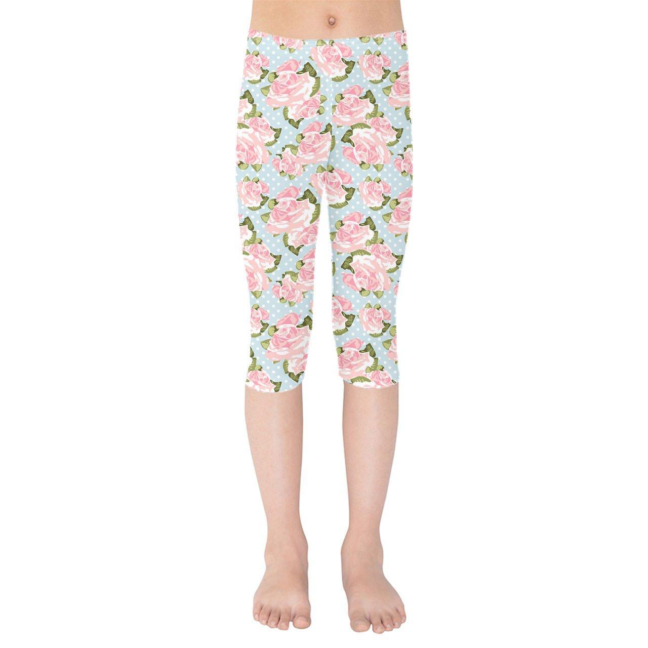 Pink Roses on Blue Polka Dots Kids Capri Leggings