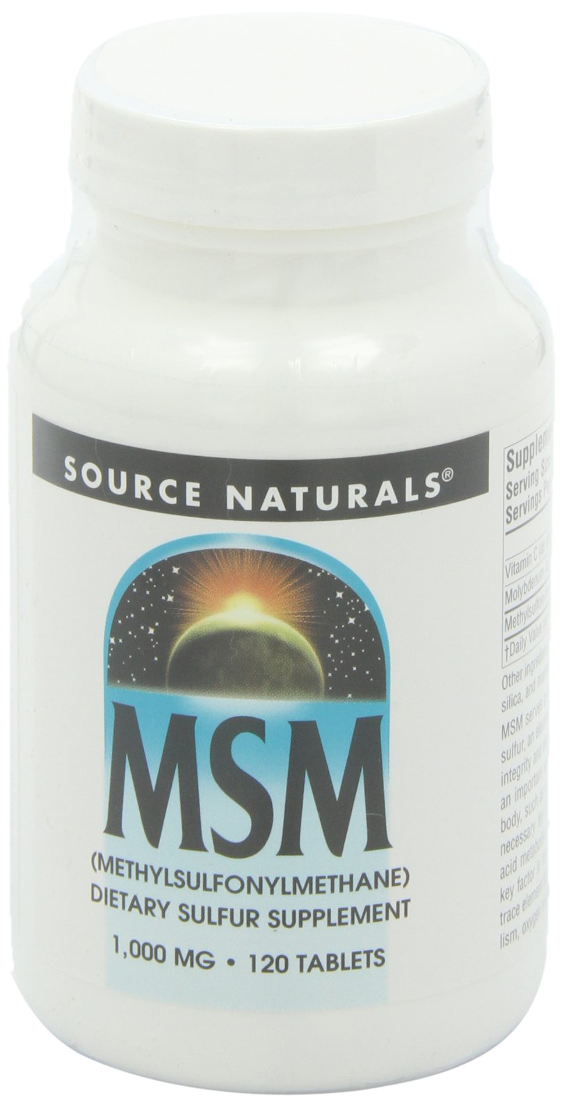 Source Naturals MSM with Vitamin C 1000mg, Nature's Source for Dietary Sulfur, 120 Tablets,2 Pack