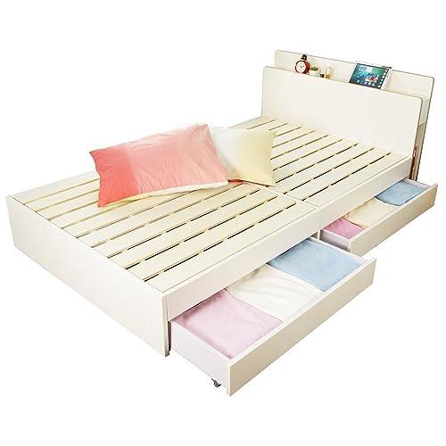 木製ベッドシングル三つ折りポケットコイルマットレス付きLYCKA(リュカ)ホワイト白北欧収納ベッド