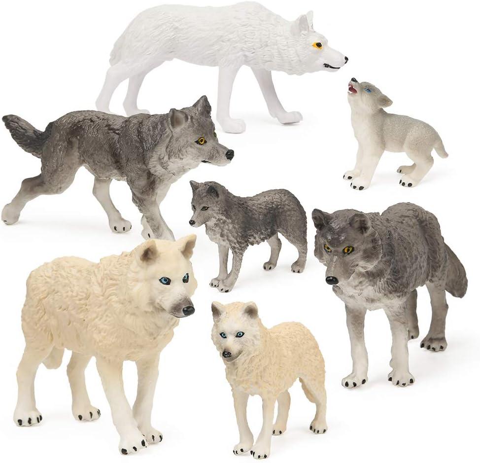 RESTCLOUD 7Pcs Wolf Toy Figurines Set Wolf Animals Figures (Wolf Set B)