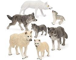 7Pcs Wolf Toy Figurines Set Wolf Animals Figures (Wolf Set B)