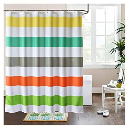 LanMeng Fabric Shower Curtain Colorful Rainbow Cross Stripe Mildew Resistant Waterproof Water Repellent