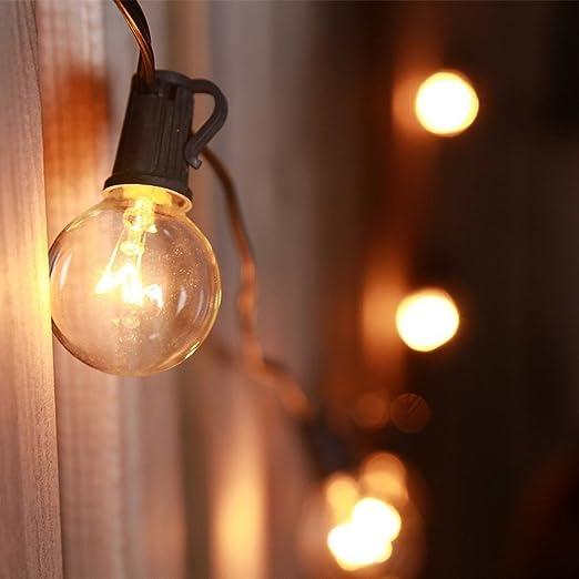 Globo Impermeable de 7.6 m Cadena Luces con Bombillas de 25 G40, Uso de Interior/al Aire libre, ideal para Patio, Jardín, Casas de Novia, Fiesta (Incluye 27 Bombillas): Amazon.es: Iluminación