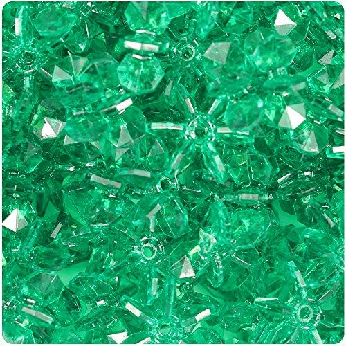 BEADTIN Emerald Green Transparent 18mm SunBurst Craft Beads (150pc)