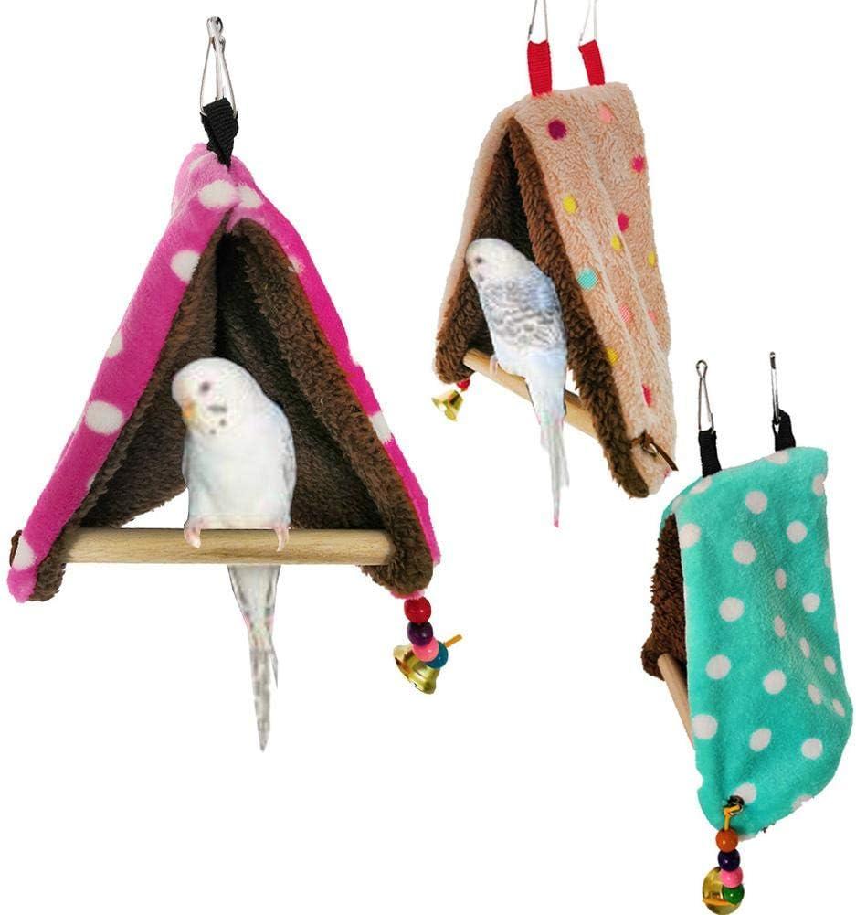 Sponsi 1pcs Bird Perch Carpa Pequeño Loro Birdhouse Hamaca Columpio Algodón Cálido Nido De Juguete Color Color Aleatorio