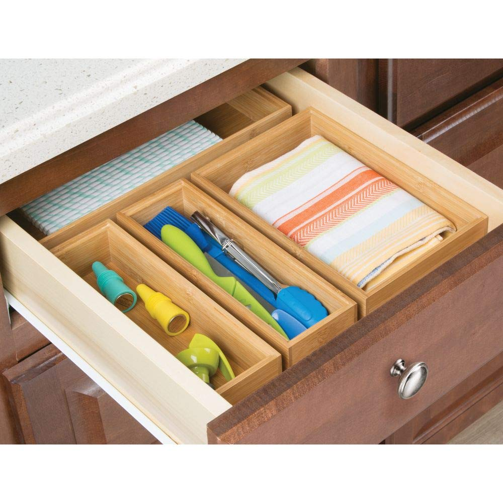 9 Long mDesign Bamboo Kitchen Cabinet Drawer Organizer Stackable Tray Bin Natural Wood Finish on Countertops Shelves or in Pantry Use in Drawers 2 Pack Multipurpose Eco-Friendly