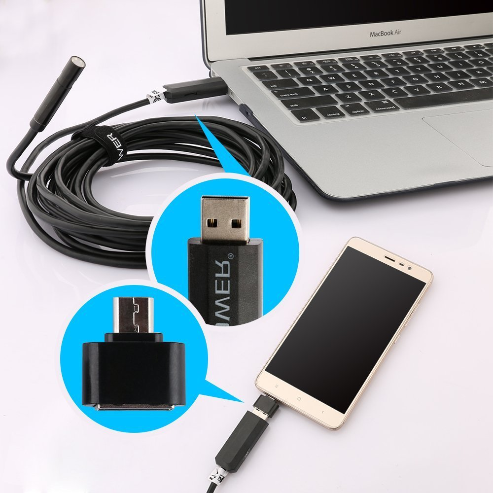 2017 NEW! ( 2-in-1 ) Semi Ridgid DBPOWER 2Million Pixels 5M USB Waterproof HD 6LED Borescope Endoscope Inspection Tube Camera with USB Adapter(included) for Android Device with OTG function