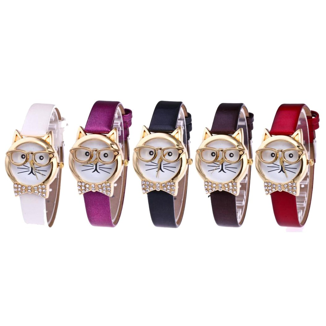 Doinshop Women Analog Quartz Dial Wrist Watch Cute Glasses Cat Décor Wholesale Pack 5