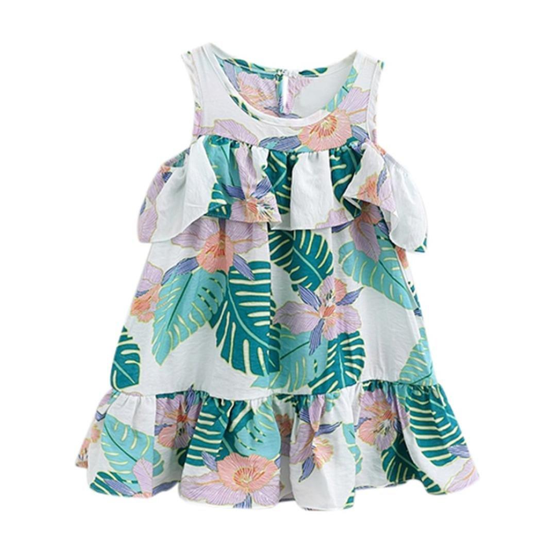 Hatoys Children Kid Infant Girls Ruffles Leaves Print Backless Princess Dress Clothes