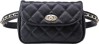 AiSi Damen Mode Hüfttasche, Kleine Modern Taillenbeutel Gürteltasche Bauchtasche Mini Handytasche mit Verstellbaren Riemen aus Leder (Schwarz Groß)