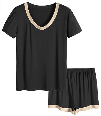 adccf2fdb0226 Latuza Women s V-Neck Sleepwear Short Sleeve Pajama Set at Amazon ...