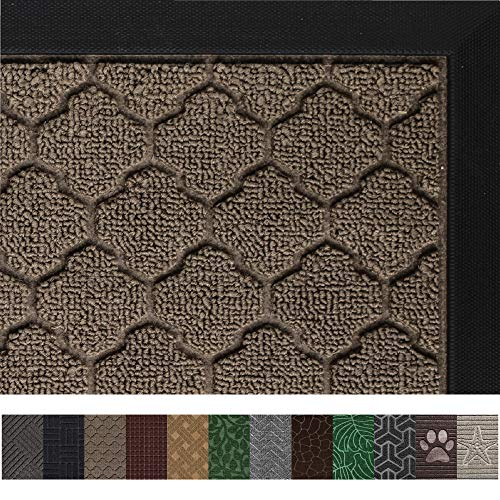 Gorilla Grip Original Durable Rubber Door Mat (29 x 17) Heavy Duty Doormat, Indoor Outdoor, Waterproof, Easy Clean, Low-Profile Mats for Entry, Garage, Patio, High Traffic Areas (Beige Quatrefoil) from Gorilla Grip