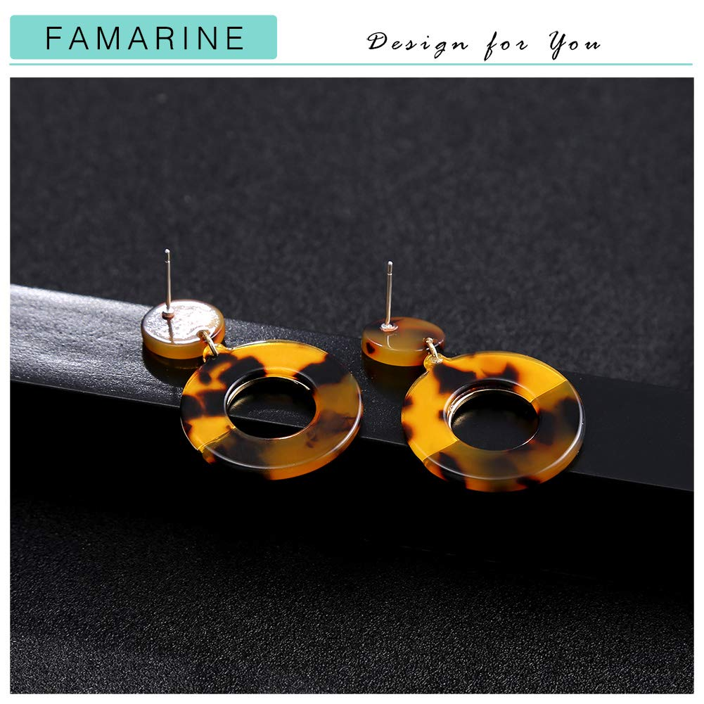 FAMARINE Tortoise Shell Round Circle Drop Earrings Gold Geometric Mottled Acrylic Stud Drop Earring for Girls Women