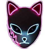 Demon Slayer Mask,LED Halloween Mask,LED Light Up Glowing Japanese Anime Demon Slayer Cosplay Fox Cat Mask for Adults…