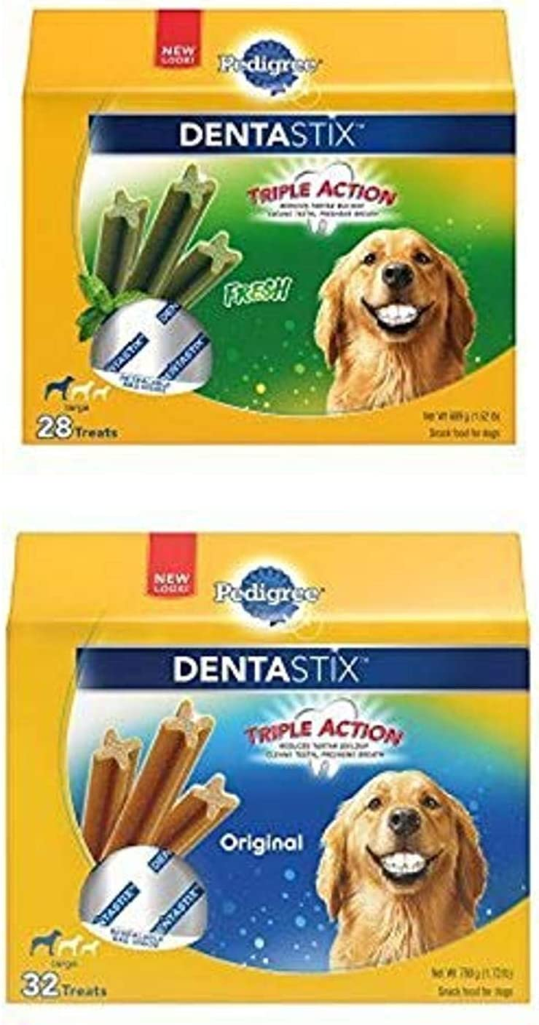 Pedigree Dentastix Large Treats For Dogs, (2) 3.24 Lb Packs (60 Treats)