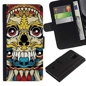 Be-Star la tarjeta de Crédito Slots PU Funda de cuero Monedero caso cubierta de piel Para Samsung Galaxy S5 Mini (Not S5), SM-G800 ( Vampire Fang Acid Trip Yellow Skull )