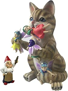by Mark & Margot - Mischievous Cat Garden Gnome Statue Figurine - Best Art Décor for Indoor Outdoor Home Or Office (One Size, Fairy Gnome Mischievous Cat)
