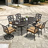 DOMI OUTDOOR LIVING Aluminum 7-Piece Patio Dining Set 84″ x 42″ Oval Table Garden Furniture, 1 Oval Dining Table, 4 Dining Chairs, 2 Swivel Chairs, Antique Bronze