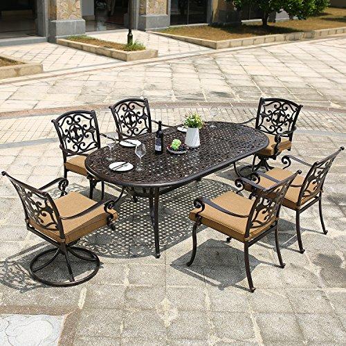 DOMI OUTDOOR LIVING Aluminum 7-Piece Patio Dining Set 84