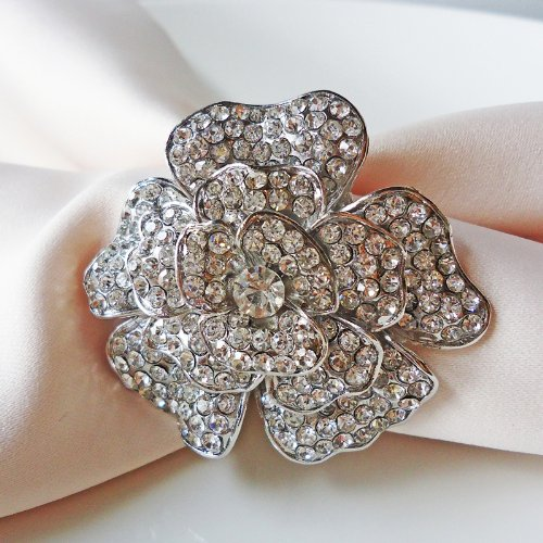 Silver Bella Crystal Floral Design Napkin Ring Set of 2 by Wildflower Linen - Add sparkle to any holiday Christmas table setting.