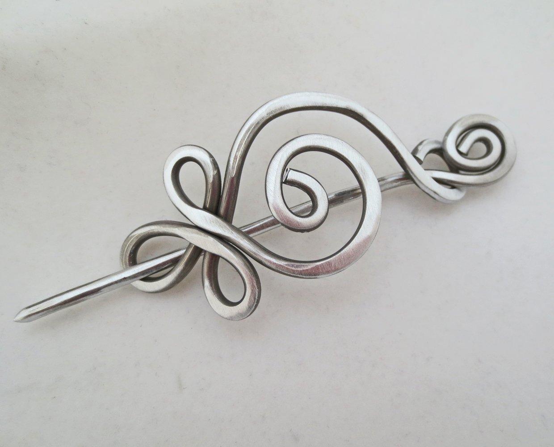 Celtic Budding Spiral Aluminum Shawl Pin, Scarf Pin, Sweater Brooch