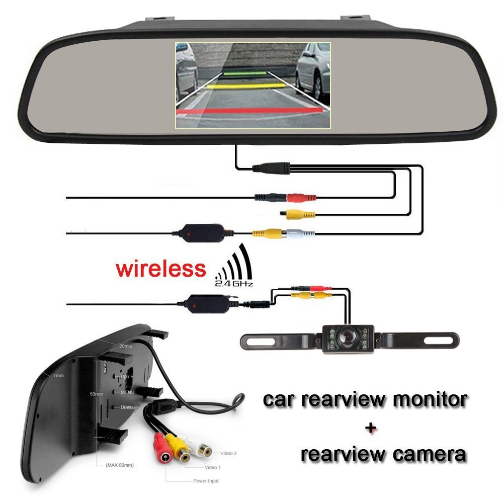 Amazon ehotchpotch wireless rearview camera 43 tft lcd amazon ehotchpotch wireless rearview camera 43 tft lcd display rearview mirror monitor with waterproof night vision rear view backup camera parking asfbconference2016 Choice Image