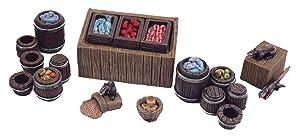 War World Gaming Fantasy Village Street Market Stall and Barrels Set – 28mm Medieval Wargaming Terrain Model Scenery