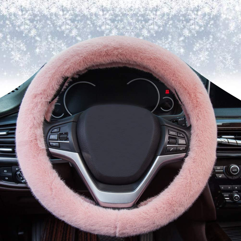 Plush-Pink Soft Pink Plush Warm Hands Universal 15 Car Interior Accessories for Women Fuzzy Fluffy Steering Wheel Cover