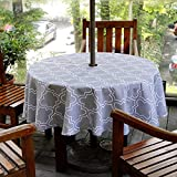 Do4U 60' Diameter Round Waterproof Garden Table Cloth Indoor/Outdoor Tablecloth With Parasol Hole Zipper and Umbrella Hole (60' round, Grey)