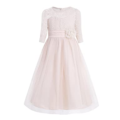CHICTRY Kids Girls Princess Lace Mesh Long Party Junior Wedding Pageant Prom Maxi Gown