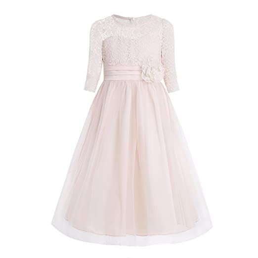 FEESHOW Floral Lace Flower Girl Dress Half Sleeved First Communion Wedding Bridesmaid Party Prom Gown Champagne